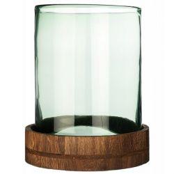Leonardo Terra , Photophore en verre vert sur socle en bois 25 cm