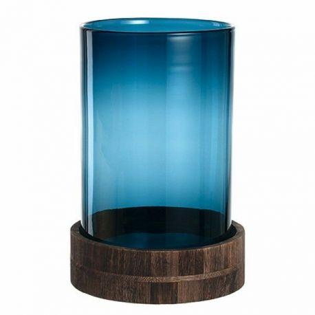 Leonardo Terra , Photophore en verre bleu sur socle en bois 34 cm