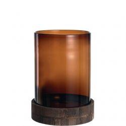 Leonardo Terra , Photophore en verre marron & socle en bois 38 cm
