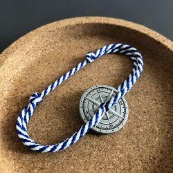 Grec bracelet corde blanc bleu boussole Le Vent à la Française