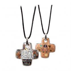 ARTIS ORBIS Pendentif croix Porcelaine Klimt Stoclet Fries