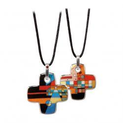 ARTIS ORBIS Pendentif croix Kandinsky points dans le coude par