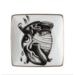 Cilla Marea Rosenthal, Vide poche porcelaine 12cm, Coeur Tatouage
