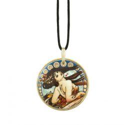 Pendentif reproduction d art La Danse en porcelaine et métal