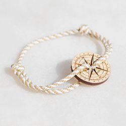 L Aubier bracelet blanc & or Le Vent à la Française Bois naturel