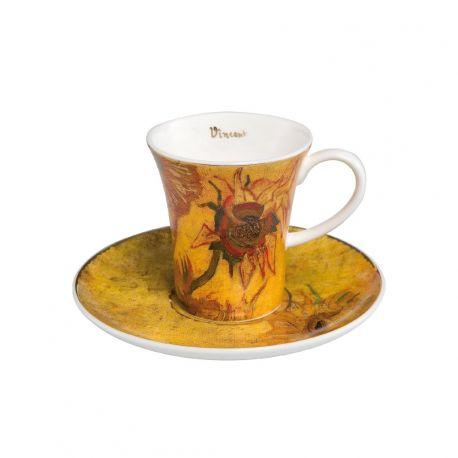 "Tasse Espresso et sous-tasse ""Les Tournesols II"" de Van Gogh"