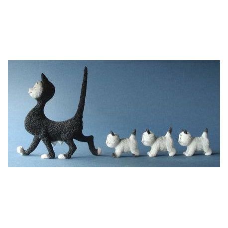 Chat Dubout - La promenade, figurine en résine