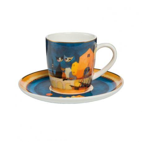 "Tasse Espresso et sous-tasse ""I colori del tramonto"" de Rosina"