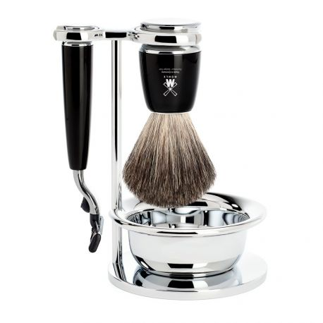 Rytmo Mühle Set 4 pièces en résine noire rasoir Gillette® Mach3®