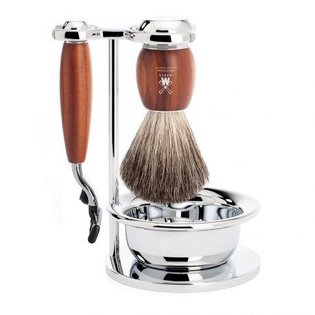 Vivo Mühle Set 4 pièces en prunier avec rasoir Gillette® Mach3®