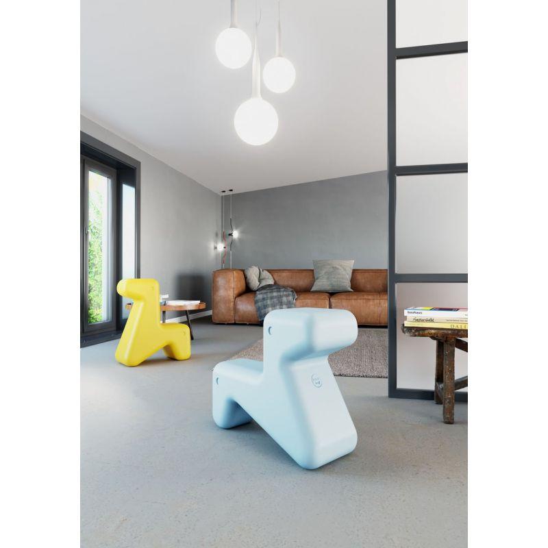Doraff Alessi, Chaise ludique bleue pour enfant, chien ou girafe