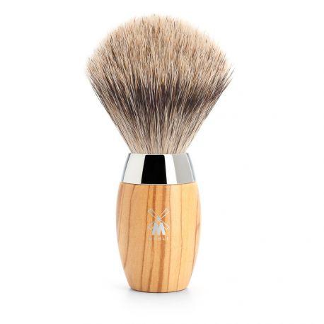 Kosmo Mühle Blaireau en poils Pur gris, manche en bois d'olivier