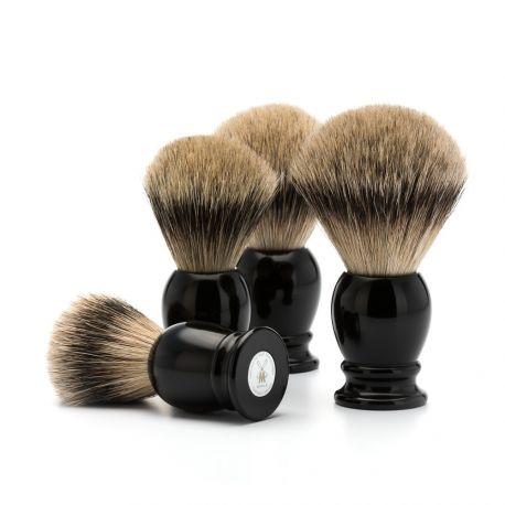 MÜLHE - Classic Blaireau résine noir et poils naturels Pur Argenté