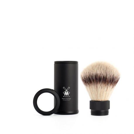 MÜLHE - Blaireau de voyage Aluminium noir & poils Silvertip Fibre®