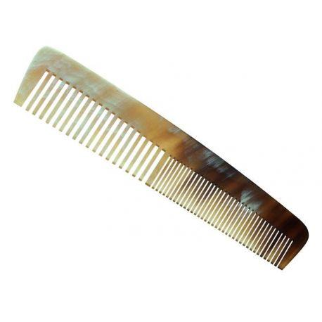 Peigne de poche en corne naturelle 13 cm + étui en cuir