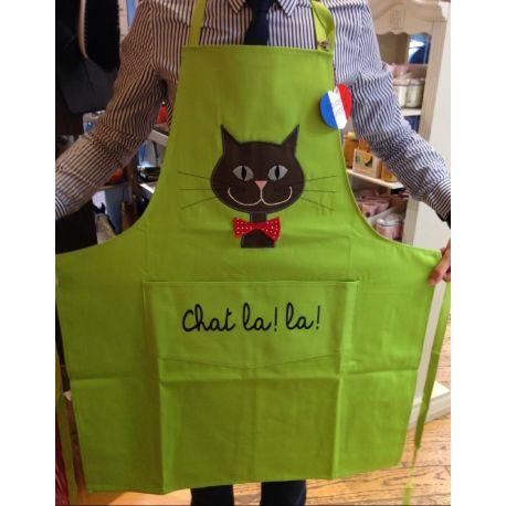 Chat La La Vert anis - Tablier de cuisine en coton