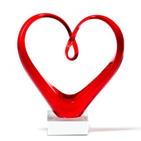 Heart, Sculpture en forme de cœur en verre rouge, 24 cm