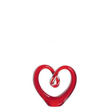 Heart, Sculpture en forme de cœur en verre rouge, 9.7 cm