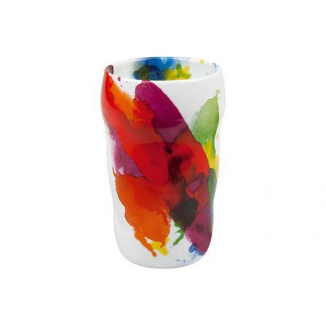 Mug double paroi , porcelaine, motif color flow