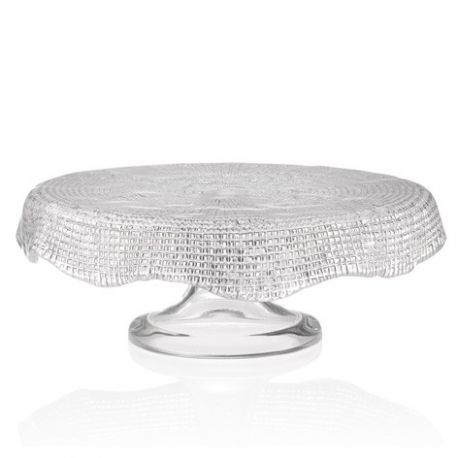 Diamante, plat à desserts sur pied en verre, 32 cm