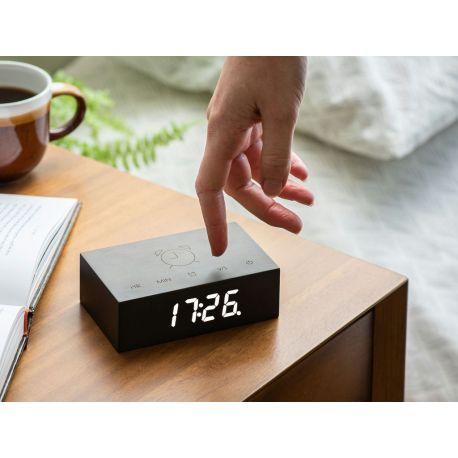 Flip Click Clock, Réveil en bois à affichage digital, noir