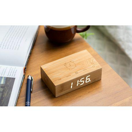 Flip Click Clock, Réveil en bois de cerisier à affichage digital