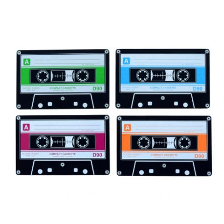 Vintage, 4 dessous de verres en forme de cassette, silicone