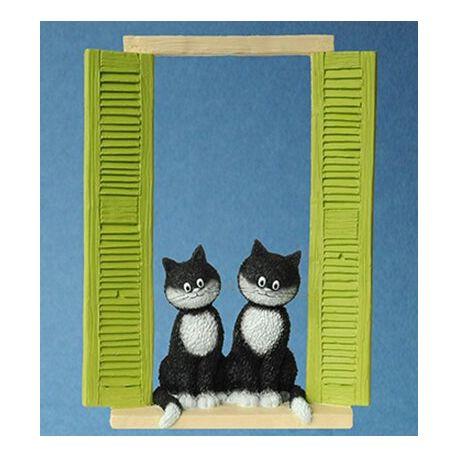 Chat Dubout – Les curieuses, figurine en résine, 19 cm