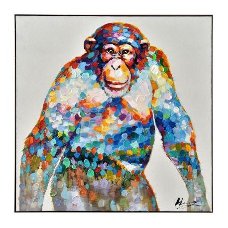 Tableau chimpanzé coloré, 100 x 100 cm