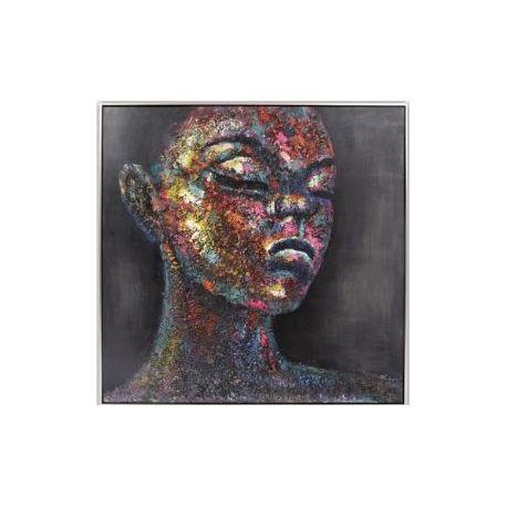 Tableau en relief, femme coloré, 80 x 80 cm