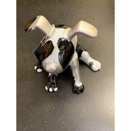 Trash, Sculpture chien assis, Gris, 12 cm